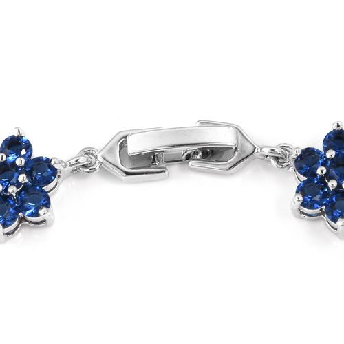 2 Piece Set - Simulated Blue Sapphire (Rnd) Floral Bracelet (Size 7.50) and Earrings in Silver Plated