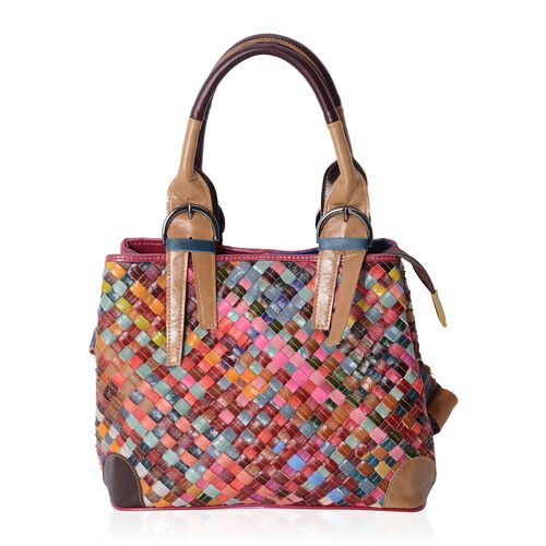 Morocco Collection Hand Woven 100% Genuine Leather MultiColor Blocking PatternTote Bag with Removable Shoulder Strap (Size 28x23x14 Cm)