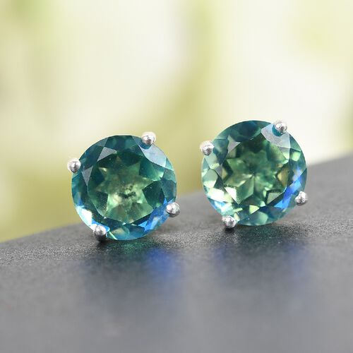 Peacock Triplet Quartz Solitaire Stud Earrings (with Push Back) in Sterling Silver 2.50 Ct.