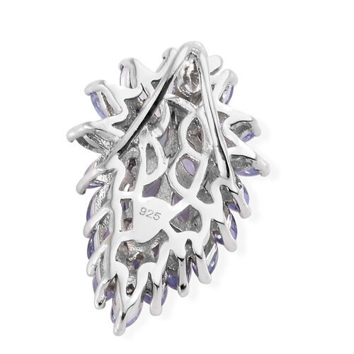 Tanzanite (Mrq) Floral Pendant in Platinum Overlay Sterling Silver 2.250 Ct.