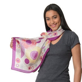 100% Mulberry Silk Scarf (Size:100X100 Cm) - Purple and Multi