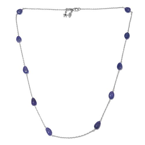 GP 22.02 Ct Tanzanite and Blue Sapphire Station Necklace in Platinum Plated Silver 20 Inch