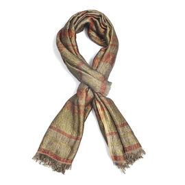 Designer Inspired - Brown Colour Scarf With Bronze Metalic Thread Detailing (Size 180x70 Cm)