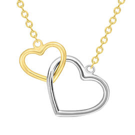 9K Yellow and White Gold Interlocked Heart Chain (Size 17 with 1 inch Extender), Gold wt 2.10 Gms