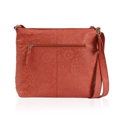 100% Genuine Leather Red Colour RFID Blocker Bag (Size 30x28 Cm)