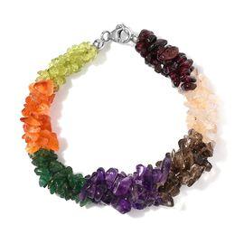 Multi Colour Gemstones Bracelet (Size - 7.5) in Platinum Overlay Sterling Silver 115.560 Ct.