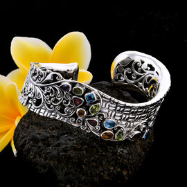 Bali Legacy Collection - Mozambique Garnet, Hebei Peridot, Citrine, Blue Topaz and Amethyst Bangle (Size 7.5) in Sterling Silver 5.50 Ct, Silver wt. 70.00 Gms