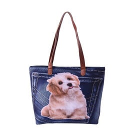 Adorable Dog in Jeans Pocket Print Tote Bag in Blue (42x9x32cm)