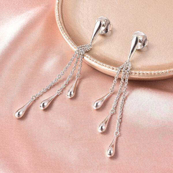 LucyQ Multi Drip Earrings (with Push Back) in Rhodium Plated Sterling Silver