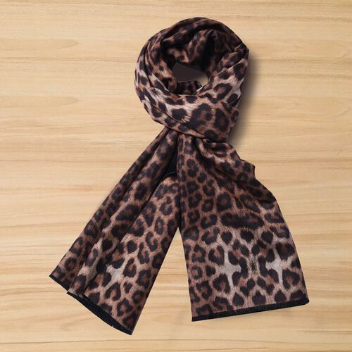 Double-Sided Leopard Print and Solid Colour Scarf (Size 65x185cm) - Black