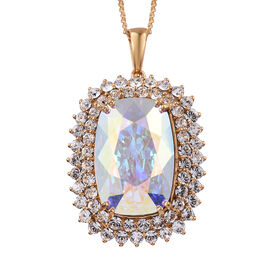 J Francis -Crystal from Swarovski AB Crystal (Cush 27x18 mm), White Crystal Pendant with Chain in 14K Gold Overlay Sterling Silver, Silver wt 13.27 Gms