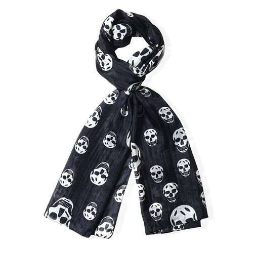 100%  Mulberry Silk Black Colour Skull Pattern Scarf (Size 175x53)