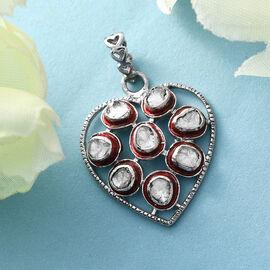 GP Polki Diamond and Kanchanaburi Blue Sapphire  Heart Pendant in Platinum Overlay Sterling Silver 0.51 Ct