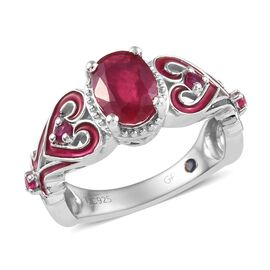 Super Auction- GP African Ruby (Ovl 8x6 mm) ,Burmese Ruby, Blue Sapphire Ring in Platinum Overlay Sterling Silver 1.750 Ct.