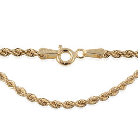 9K Yellow Gold Rope Chain (Size 20), Gold wt 2.20 Gms