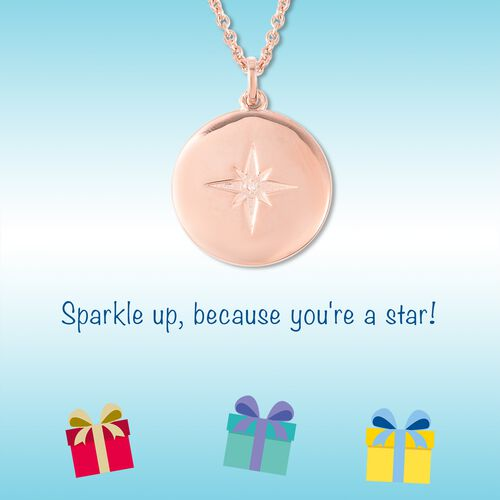RACHEL GALLEY Diamond Star Pendant with 20 Inch Chain in Rose Gold Plated Silver