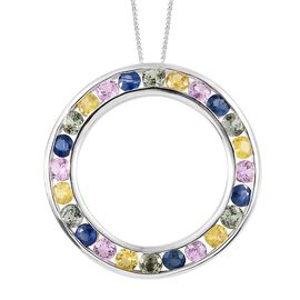 WEBEX- Rainbow Sapphire (Rnd) Circle Pendant with Chain (Size 20) in Platinum Overlay Sterling Silver 3.500 Ct