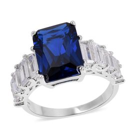 Simulated Blue Sapphire (Cush 14x10 mm), Simulated Diamond Ring in Silver Plated