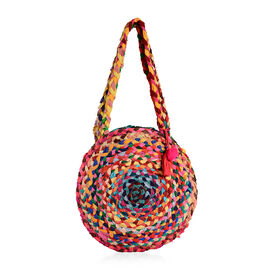 100% Natural Cotton Multi Colour Circle Pattern Shoulder Bag in Round Shape (Size 33x7.5 Cm)