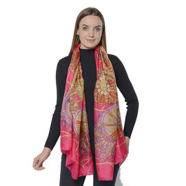 New Collection- 100% Mulberry Silk Bohemian Pattern Scarf (Size 180x110Cm) - Red, Yellow and Multi