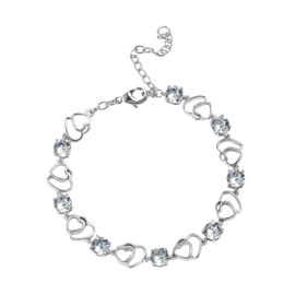 J Francis  Crystal from Swarovski Light Azore Crystal Adjustable Heart Bracelet in Platinum Plated