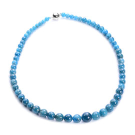 One Time Deal - Neon Apatite Necklace (Size 20) with Magentic Lock in Rhodium Overlay Sterling Silve
