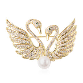 White Shell Pearl Simulated Diamond and Simulated Emerald Swan Couple Brooch or Pendant in Gold Tone