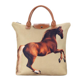 Signare Tapestry - Whistlejacket Artwork Foldaway Shopping Bag (Size 30X9X36cm) - Light Brown