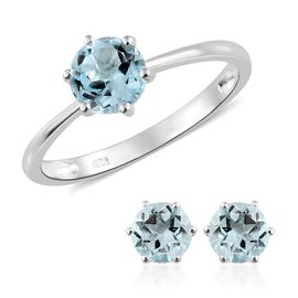Sky Blue Topaz (Rnd) Solitaire Ring and Stud Earrings (with Push Back) in Platinum Sterling Silver 3.250 Ct.