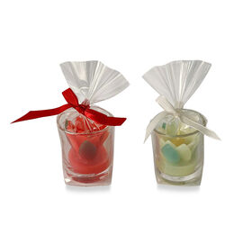 2 Piece Set - Red and Pastel Tulip Candles in Glass (Size 5x4.5 Cm)