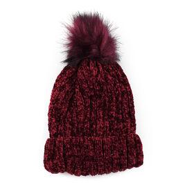 Chenille Cable Ladies Bobble Knit Hat - Purple