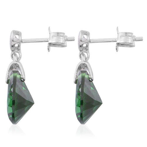 ELANZA AAA Simulated Emerald (Pear), Simulated White Diamond Earrings (with Push Back) in Rhodium Plated Sterling Silver