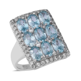 Ratnakiri Blue Zircon and Cambodian Zircon Ring in Rhodium Plated Silver 5.20 Grams
