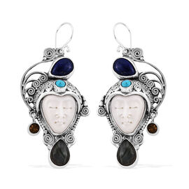 Princess Bali Collection OX Bone Carved Face (Ovl 16x12 mm), Labradorite, Lapis Lazuli, Arizona Sleeping Beauty Turquoise, Citrine Earrings in Sterling Silver 10.241 Ct, Silver wt 19.77 Gms.