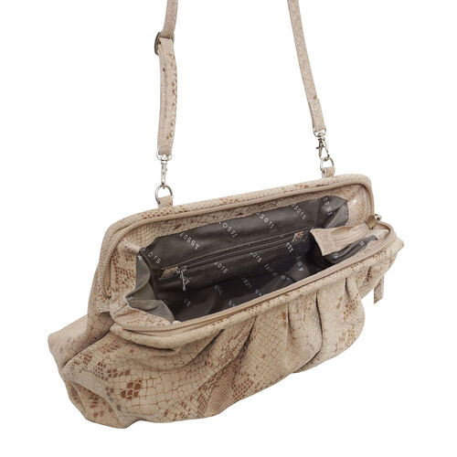 ASSOTS LONDON Genuine Leather Snake Print Oversized Clutch Bag with Adjustable Shoulder Strap (Size 29x21x3cm) - Nude