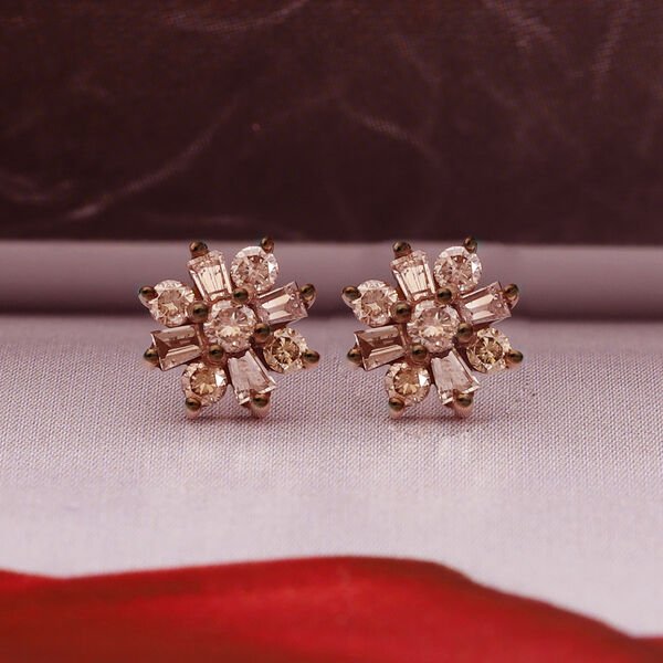 9K Rose Gold SGL Certified Champagne Diamond (I3) Floral Stud Earrings (with Push Back) 0.25 Ct