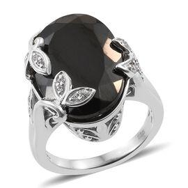 8.13 Ct Elite Shungite and Zircon Leaf Designer Ring in Platinum Plated Silver 5.86 Grams
