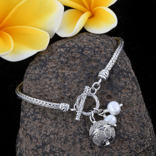 Royal Bali Collection- Freshwater Pearl Bracelet (Size 8) with Charms in Sterling Silver, Silver wt 11.21 Gms.