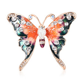 Simulated Mystic White Crystal, Simulated Diamond and White Austrian Crystal Enamelled Butterfly Bro