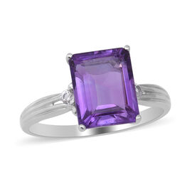Amethyst and Natural Cambodian White Zircon Ring in Rhodium Overlay Sterling Silver 3.350 Ct.