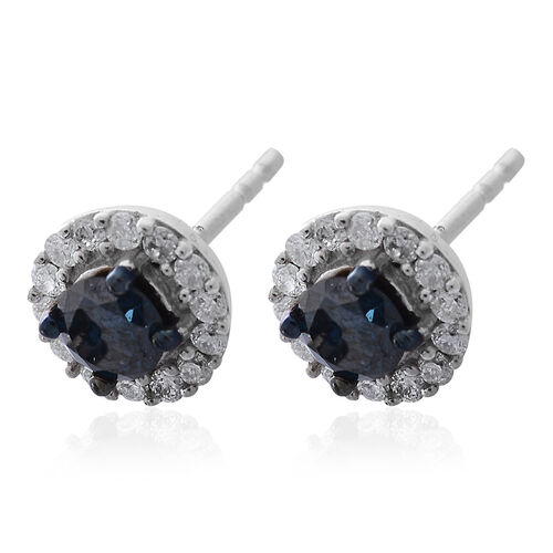 9K White Gold SGL Certified Blue Diamond (Rnd), White Diamond (I3/G-H) Stud Earrings (with Push Back) 0.750 Ct.