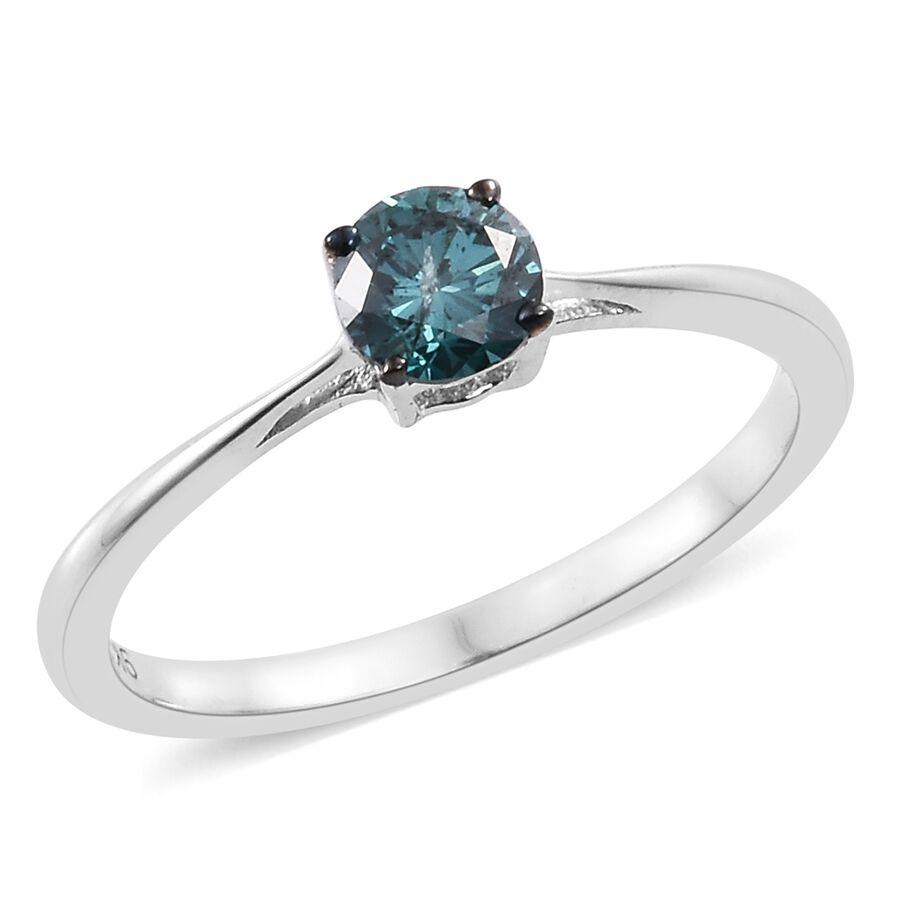 9k White Gold 0 45 Ct Blue Diamond I3 Solitaire Ring