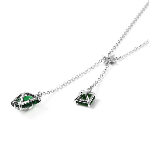 Set of 2 - Simulated Green Sapphire Necklace (Size 20 with 3 inch Extender) & Earrings (with Push Back) in Silver Tone