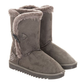 GURU Womens Winter Fluffy Ankle Boots with Button Closure - Grey
