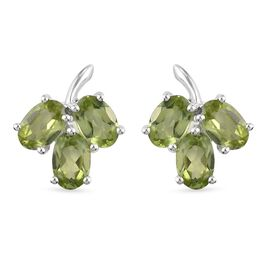 Natual Hebei Peridot Earrings (with Push Back) in Sterling Silver 3.18 Ct.
