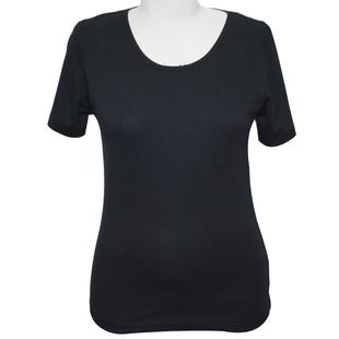 SUGARCRISP 100% Cotton Short Sleeve Rib TShirt (Size 10) - Black