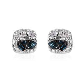 Diamond Platinum Overlay Sterling Silver Earring  0.050  Ct.