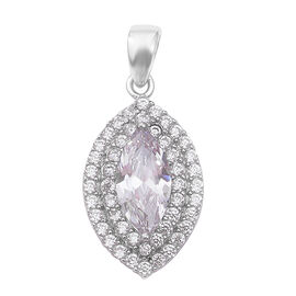 Simulated Diamond Halo Pendant in Rhodium Plated Sterling Silver