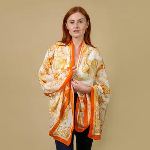 JOVIE 100% Viscose Printed Scarf (Size:180x85Cm) - Cream and Orange