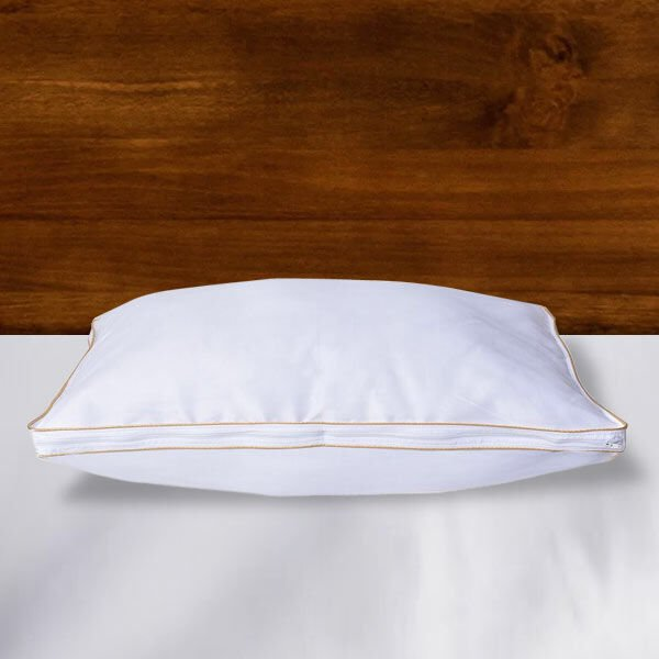 Down Alternative Pillow Cover with Gold Piping and Zipper Closure (Size 50x70cm)
